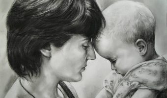 Kohleportrait von Inga Mihailovic, Mutter und Kind, 2010, 70x50
